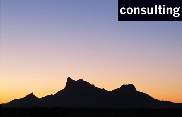 Consulting section button photograph of Picacho Peak at sunrise