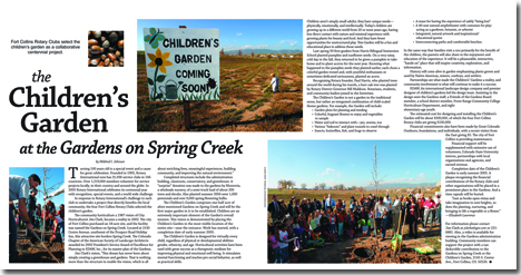 The Children's Garden at the Gardens on Spring Creek center spread image, Rotary newspaper insert,